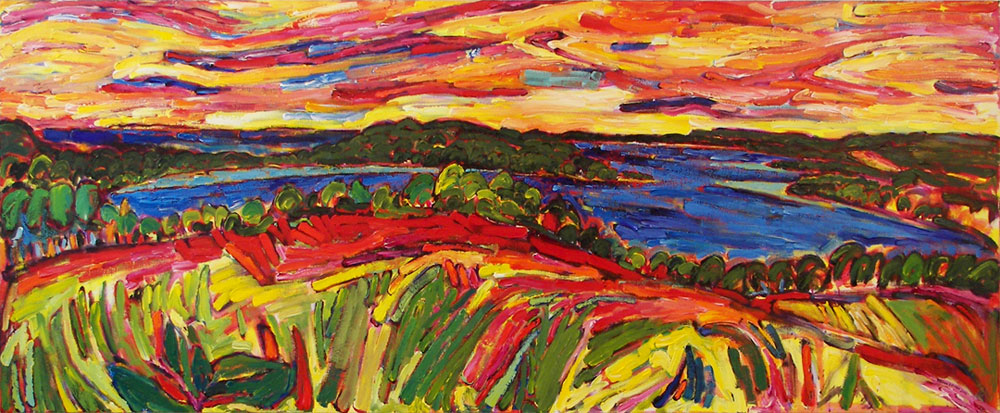 Atop North Lake Leelanau Again painting from Brenda J. Clark Gallery