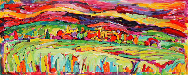 Cucuron Au Mileiu d'Apres-midi, Cucuron in Mid Afternoon painting from Brenda J. Clark Gallery