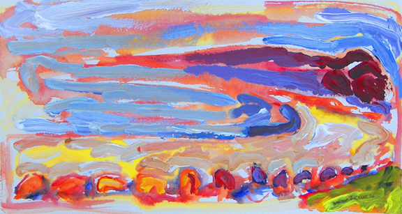 Hazing Sandy Beach painting from Brenda J. Clark Gallery
