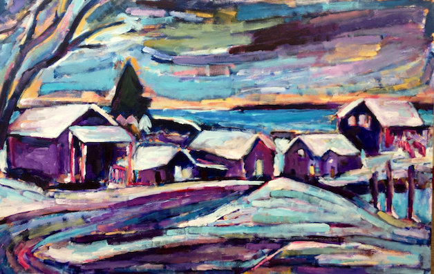 Looking In On Fishtown's Winter painting from Brenda J. Clark Gallery