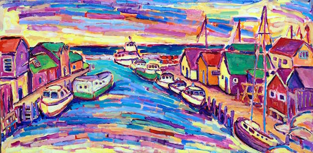 Midsummer's Historic Fishtown painting from Brenda J. Clark Gallery