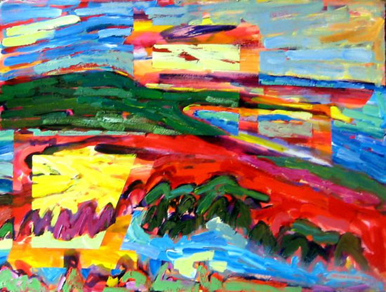 Miller Hill View Pyramid Point—masked painting from Brenda J. Clark Gallery