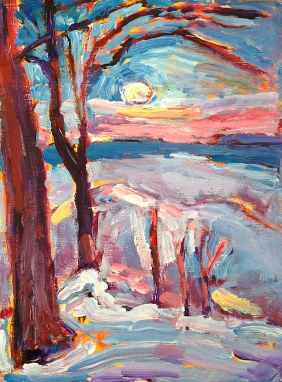 >Monday's Soft Morning March Moon Atop North Lake painting from Brenda J. Clark Gallery