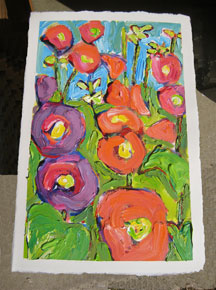 Morning Hollyhocks II painting from Brenda J. Clark Gallery
