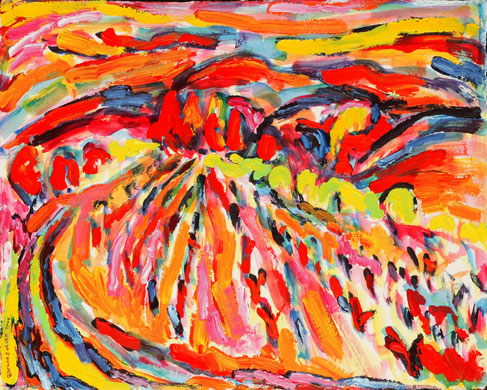 Des Alpilles aux Vignobles, Mountains and Vineyard, painting from Brenda J. Clark Gallery