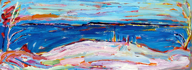 Panning the Manitou Islands in March painting from Brenda J. Clark Gallery