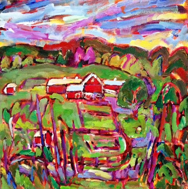 Peeking into Black Star Farms painting from Brenda J. Clark Gallery