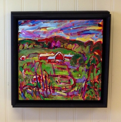 Peeking into Black Star Farms framed painting from Brenda J. Clark Gallery