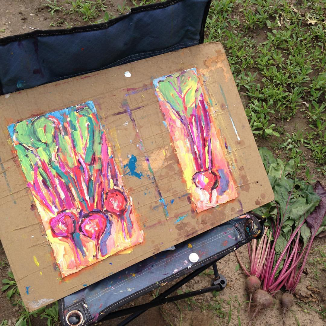 Pulled Beets duo paintings from Brenda J. Clark Gallery